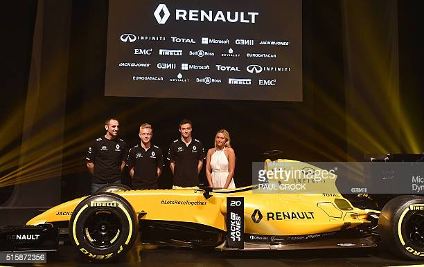 Renault managing director Cyril Abiteboul is joined by team drivers Kevin Magnussen of Denmark and Jolyon Palmer of Britain and Australian pro surfer...
