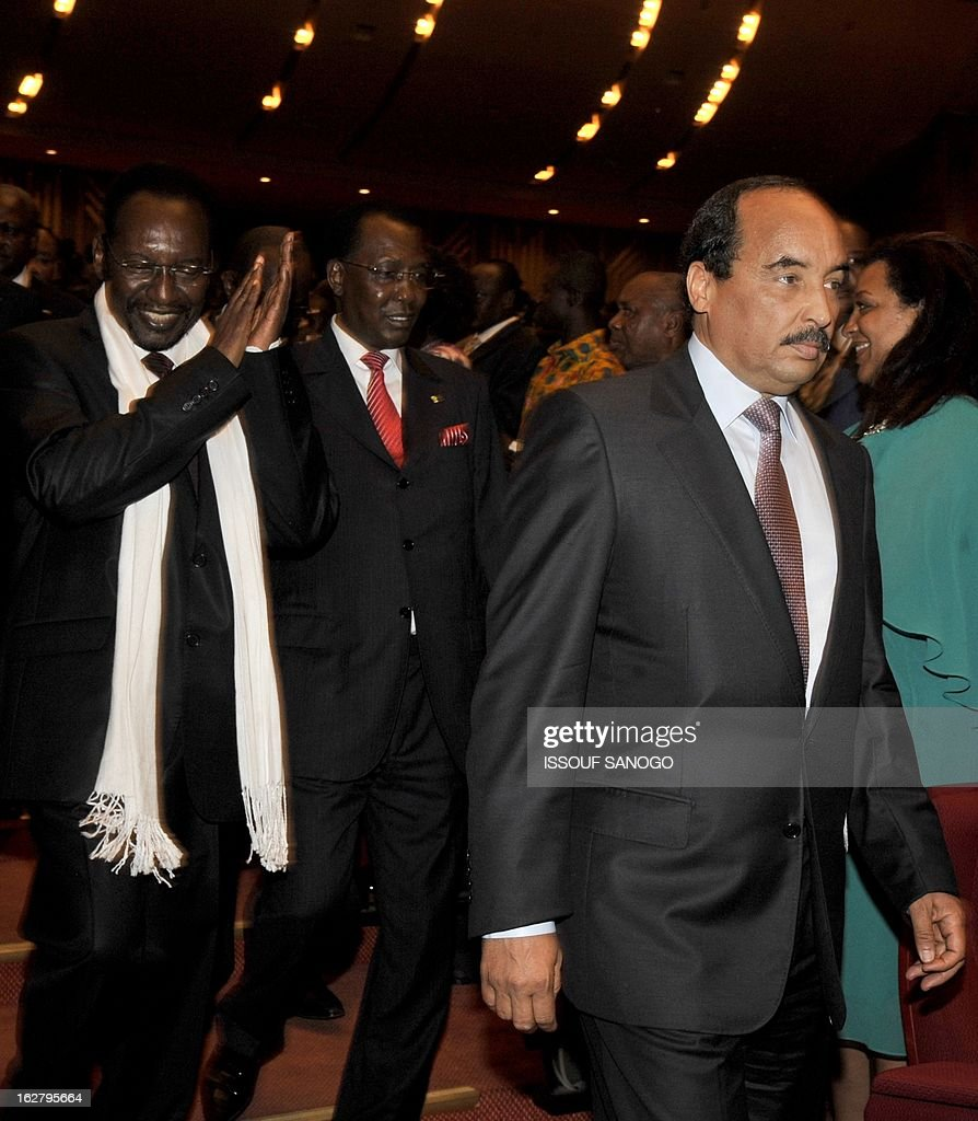 From (L-R) Mali's transitional president Diouncounda Traore, Idriss Deby Itno of Chad and Mohamed Adel Aziz of Mauritania arrive on Febuary 27, 2013 at the Felix Houphouet-Boigny foundation in Yamoussoukro for the opening ceremony of the ECOWAS ordinary summit. West African nations claim they will need aid worth $950 million (715 million euros) to sustain and reinforce a military mission to help fight Islamists in Mali.