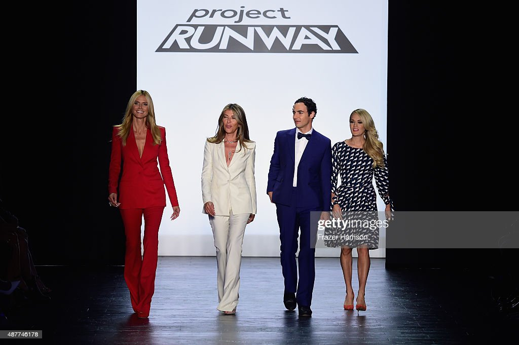 From Model Heidi Klum journalist Nina Garcia designe Zac Posen and singer Carrie Underwood onstage at the runway at the Project Runway fashion show...
