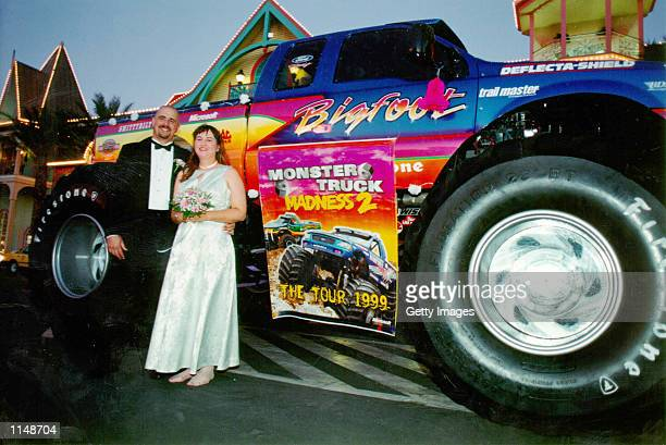 From monster trucks to wedding bells newlyweds Scott and Alicia White catch a ride in style as they depart for their honeymoon from Microsoft's...