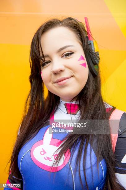 VA from Overwatch cosplayer during the MCM Birmingham Comic Con at NEC Arena on March 18 2017 in Birmingham England