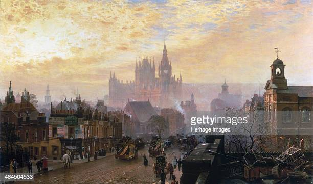 'From Pentonville Road looking West Evening' 1884 Busy London street scene with opentopped horse drawn omnibuses A postman empties a post box...
