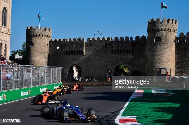 Sauber's Swedish driver Marcus Ericsson McLaren's Belgian driver Stoffel Vandoorne Renault's British driver Jolyon Palmer and McLaren's Spanish...