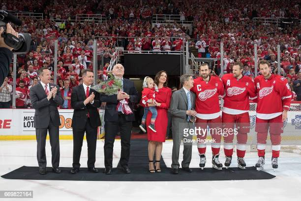 From R to L Justin Abdelkader Niklas Kronwall Henrik Zetterberg of the Detroit Red Wings former Detroit Red Wing Ted Lindsay wife Emma Andersson...
