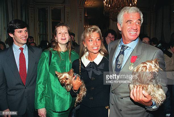 From right Actor JeanPaul Belmondo one of France's biggest screen stars and a symbol of 1960s New Wave cinema his companion Natty his daughterinlaw...