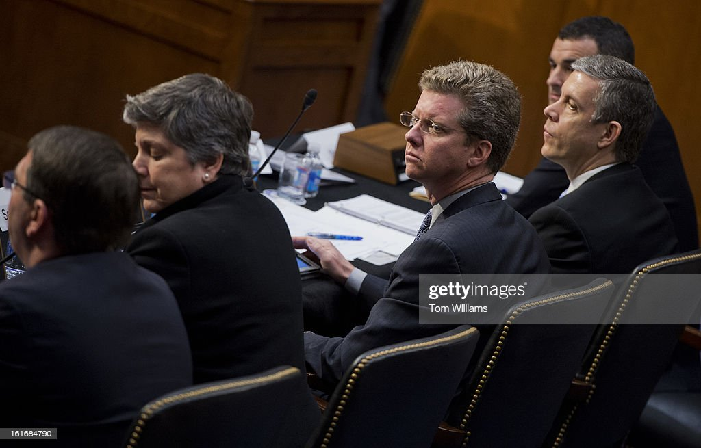 From right, Danny Werfel, federal controller, Office of Management and Budget, Education Secretary Arne Duncan, HUD Secretary Shaun Donovan, Homeland Security Janet Napolitano, and Deputy Defense Secretary Ashton Carter, appear before a Senate Appropriations Committee hearing in Hart Building to discuss the impacts of the sequestration on their agencies.