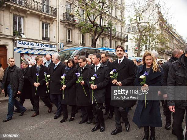 From right to left Sophie Grégoire and her husband Justin Trudeau Prime Minister of Canada his counterpart Manuel Valls Prime Minister of France...