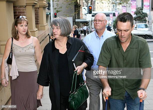 From second from left Margaret and Raymond Sutton and their son Gregory Sutton arriving at the Supreme Court King Street Sydney with an unidentified...