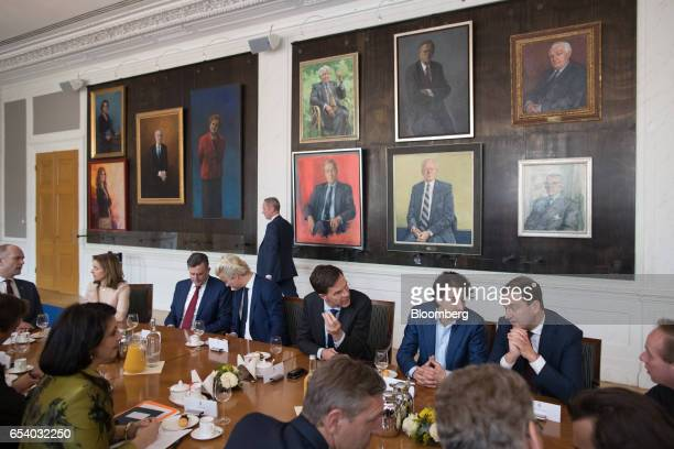 From second left to right Marianne Thieme leader of the Party for the Animals Emile Roemer leader of the Socialist Party Geert Wilders leader of the...