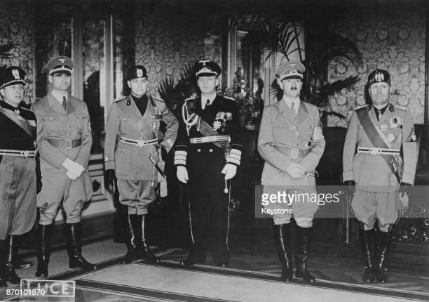 From second left to right Rudolf Hess Count Ciano Joachim von Ribbentrop Adolf Hitler and Benito Mussolini at the Littorio Palace in Rome Italy 5th...