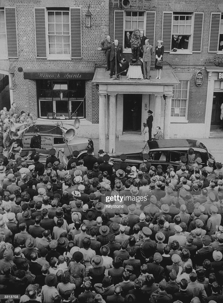 From the balcony of the Red Lion Hotel High Wycombe Winston Churchill addresses a crowd of 8000 citizens at the start of his election campaign tour