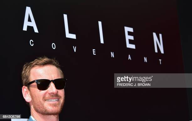From the cast of 'Alien Convenant' actor Michael Fassbender arrives on the red carpet ahead of Sir Ridley Scott's Hand and Footprint ceremony in...