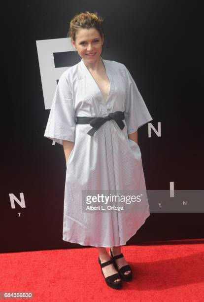 From the cast of 'Alien Convenant' actress Amy Seimetz arrives on the red carpet ahead of Sir Ridley Scott's Hand and Footprint ceremony in front of...