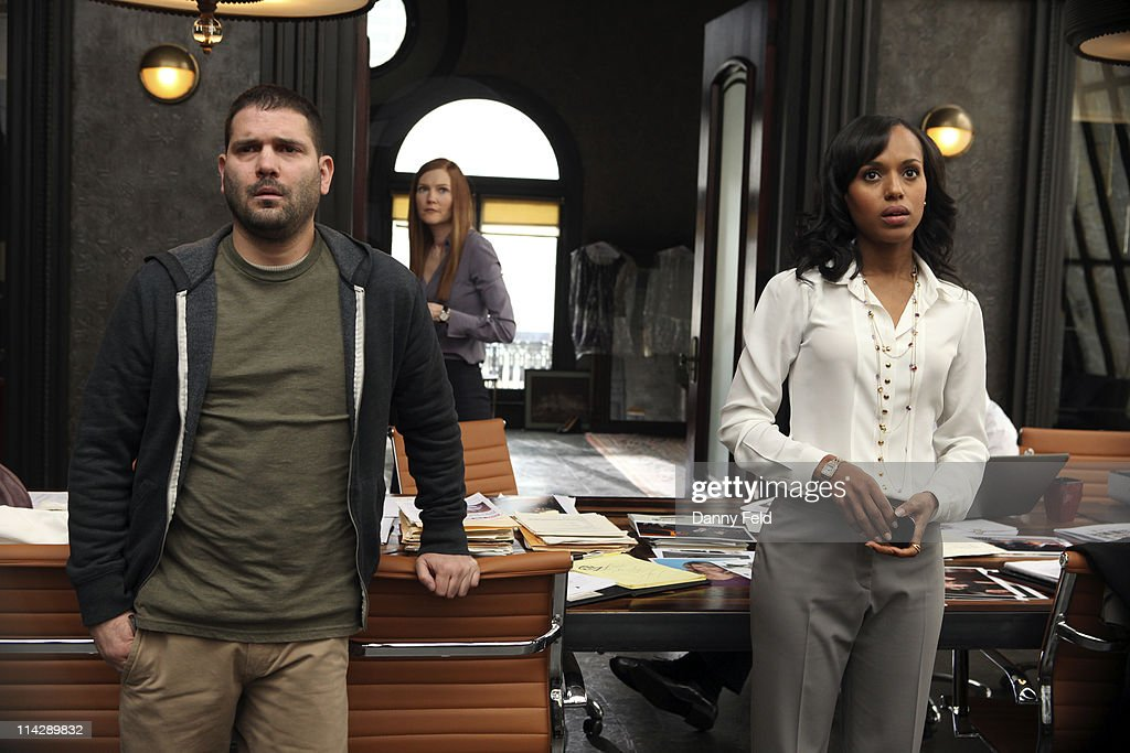 SCANDAL - From the creator and executive producers of 'Grey's Anatomy' and 'Private Practice' comes a drama revolving around the life and work of a professional crisis manager and her dysfunctional staff. 'Scandal' stars Kerry Washington as Olivia Pope, Henry Ian Cusick as Stephen Finch, Columbus Short as Harrison Wright, Guillermo Diaz as Huck, Darby Stanchfield as Abby Whelan, Katie Lowes as Quinn Perkins, Tony Goldwyn as President Fitzgerald Grant and Jeff Perry as Cyrus. 'Scandal' was written by Shonda Rhimes. Rhimes and Betsy Beers are executive producers. Paul McGuigan is the director. 'Scandal' is produced by ABC Studios.(Photo by Danny Feld/ABC via Getty Images)GUILLERMO DIAZ, DARBY STANCHFIELD, KERRY WASHINGTON