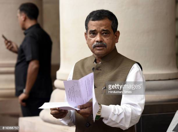 MP from the Jangipur Lok Sabha Abhijeet Mukherjee before casting his vote during the presidential election at the Parliament House on July 17 2017 in...