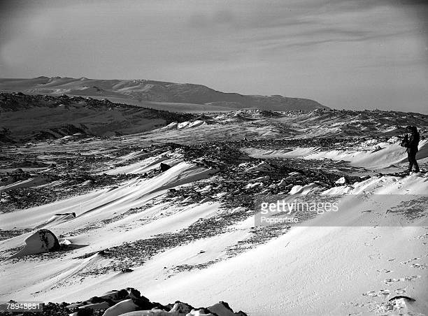 From the Ponting Collection Captain Robert Falcon Scott Photographer Scotts Antarctic Expedition 1910 1912 A view of the snowy landscape looking...