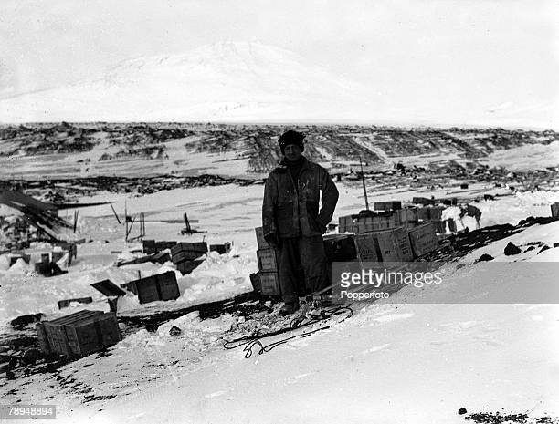 From the Ponting Collection Captain Robert Falcon Scott Photographer Scotts Antarctic Expedition 1910 1912 Lieutenant Bowers amongst boxes of food