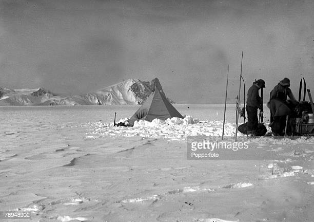 From the Ponting Collection Captain Robert Falcon Scott Photographer Scotts Antarctic Expedition 1910 1912 A tent set up in front of the snowy...