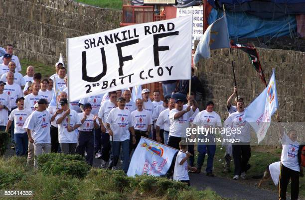 UFF from the Shankill road in Belfast arrive at police lines at Drumcree Church in Portadown The group were led by UFF leader Johnny Adair * The...