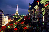 From the terrace of the Hotel Plaza Athenee guests enjoy a sweeping view of the Paris skyline and the Eiffel Tower
