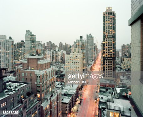 NYC from Upper East Side looking toward Harlem : Stock Photo