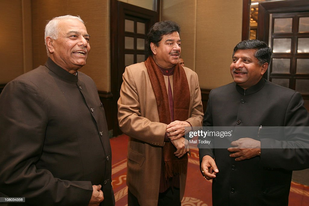 From(L-R) <a gi-track='captionPersonalityLinkClicked' href=/galleries/search?phrase=Yashwant+Sinha&family=editorial&specificpeople=227891 ng-click='$event.stopPropagation()'>Yashwant Sinha</a>, Shatrughan Sinha and Ravi Shankar Prasad during the MJ Akbar's Book Launch Tinderbox;The Past and Future of Pakistan on January 11,2011 in New Delhi.