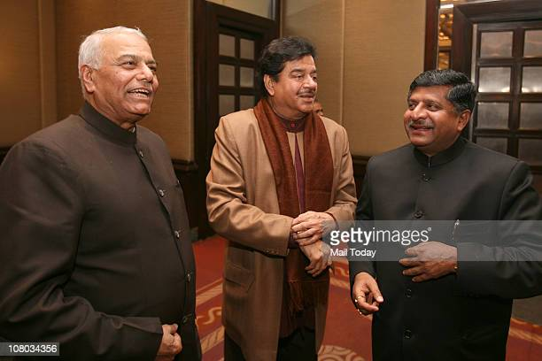 From Yashwant Sinha Shatrughan Sinha and Ravi Shankar Prasad during the MJ Akbar's Book Launch TinderboxThe Past and Future of Pakistan on January...