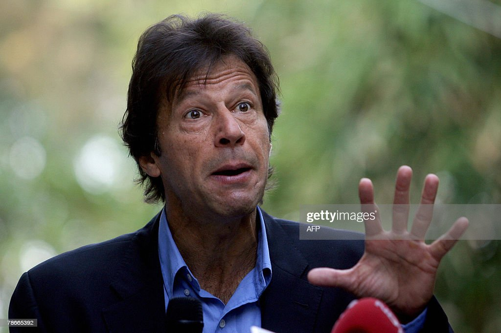 Fromer Pakistan cricketer and leader of Tehreek-e-Insaf Political party, <a gi-track='captionPersonalityLinkClicked' href=/galleries/search?phrase=Imran+Khan+-+Politician&family=editorial&specificpeople=13488792 ng-click='$event.stopPropagation()'>Imran Khan</a> gestures during a press conference in Mumbai, 28 December 2007. Khan who is on a personal visit to India's financial capital mumbai, called for the setting up of a consensus-formed caretaker government and a judicial probe into the assasination of two-time premier Benazir Bhutto, Pakistan's main opposition leader who was killed in a gun and suicide bomb attack Thursday ahead of scheduled January 8 elections. 'General Musharraf's time is up. He should step down as there is no end to terrorism in Pakistan,' said Khan. Khan heads back to Pakistan Saturday 29 December 2007, but said his party would boycott the upcoming elections in Pakistan. AFP PHOTO/Pal PILLAI