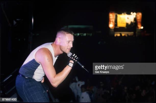 Front 242 Richard 23 performing on stage Pukkelpop Festival Hasselt Belgium 28th August 1993
