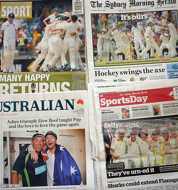 Front and back pages of the Australian newspapers display victory celebrations by the Australia cricket team after winning Ashes Test series against...