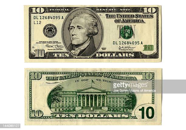 Front and back side of the new ten dollar bill