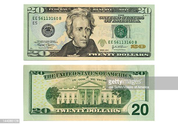 Front and back side of the new twenty dollar bill