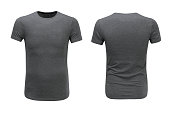 Front and back views of grey t-shirt on white background with paths