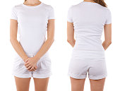 Front and rear view of woman wearing all white
