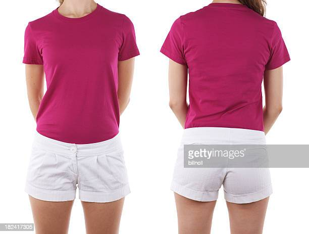 Front and rear view of woman wearing blank shirt