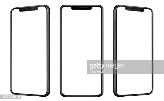 Front and side view of black smartphone with blank screen and modern frame less design isolated on white : Stock Photo