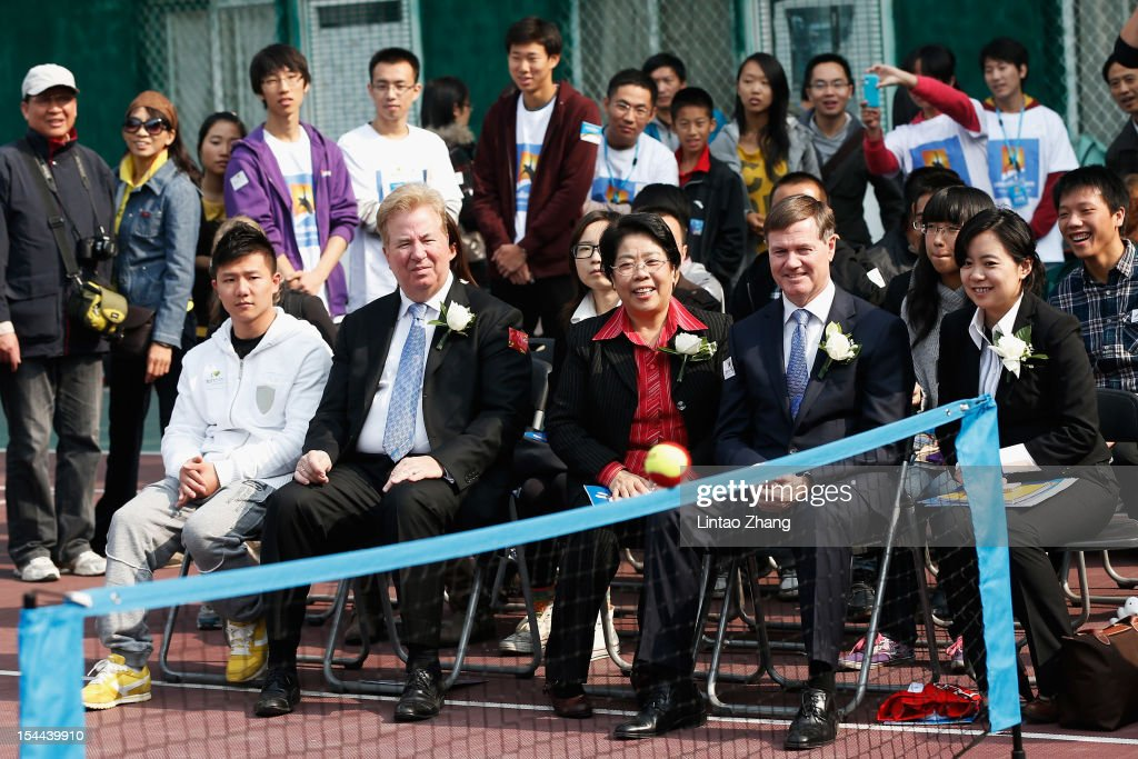 Front (L-R) Chinese Gymnastics champion Chen Yibng,Chief Operating Officer of Tennis Australia David Robert,President of Tennis Australia Stephen Healy and Vice Chairman of University Council Sulan Yu watch mini tennis game during the Australian Open Trophies Tour at The Beijing University on October 20, 2012 in Beijing, China.
