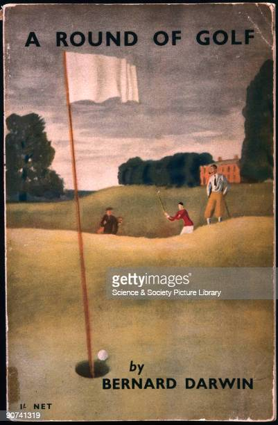 Front cover of a London North Eastern Railway guidebook depicting men playing golf Artwork by Bernard Darwin printed by Chorely Pickersgill Ltd