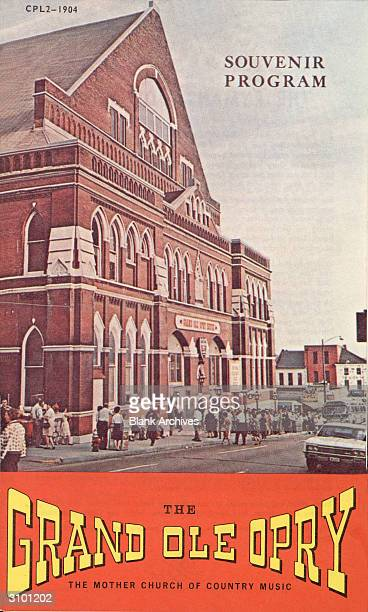 Front cover of a souvenir program with an illustration of the Ryman Auditorium which was the home of the Grand Ole Opry from 1943 to 1974 The program...