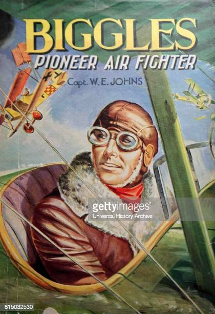Front cover of 'Biggles pioneer air fighter' by Captain W E Johns an English pilot and author Dated 20th Century