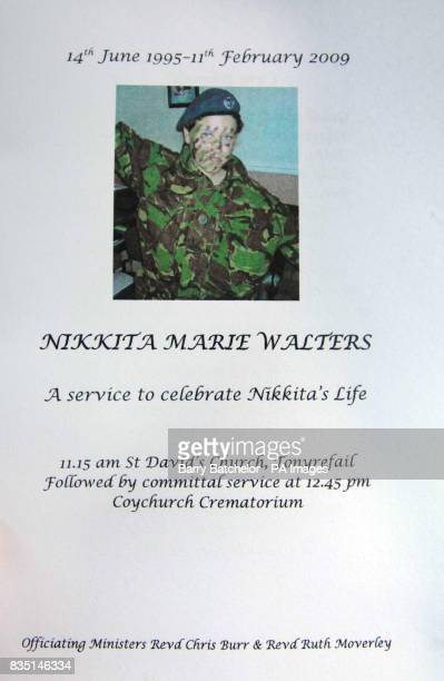Front cover of the order of service for the funeral of Nikkita Walters at St David's Church Tonyrefail