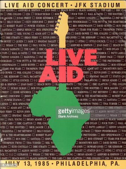 Front cover of the program from the Live Aid concert at JFK Stadium in Philadelphia Pennsylvania July 13 1985 The concert and a simultaneous one at...