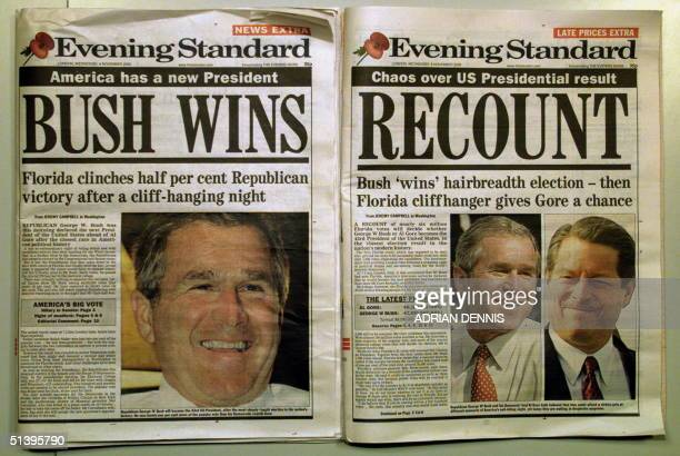Front covers of the Evening Standard a London newspaper showing the headlines of George Bush winning the US Presidential election before the votes...