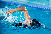 Female swimming front crawl.