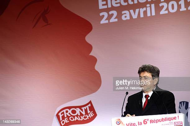 Front de Gauche candidate JeanLuc Melechon appears after the results of the first round of the 2012 French Presidential election on April 22 2012 in...