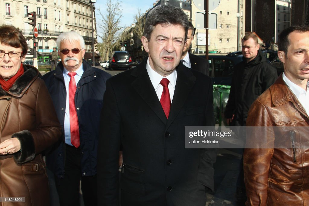 Front de Gauche candidate Jean-Luc Melenchon arrives to cast his vote during the first round of the 2012 French Presidential election on April 22, 2012 in Paris, France. French citizens head to the polls as voting began Sunday in France for the first round of the presidential election.