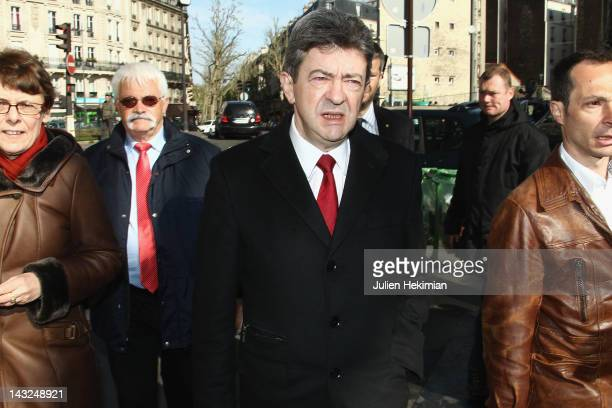 Front de Gauche candidate JeanLuc Melenchon arrives to cast his vote during the first round of the 2012 French Presidential election on April 22 2012...