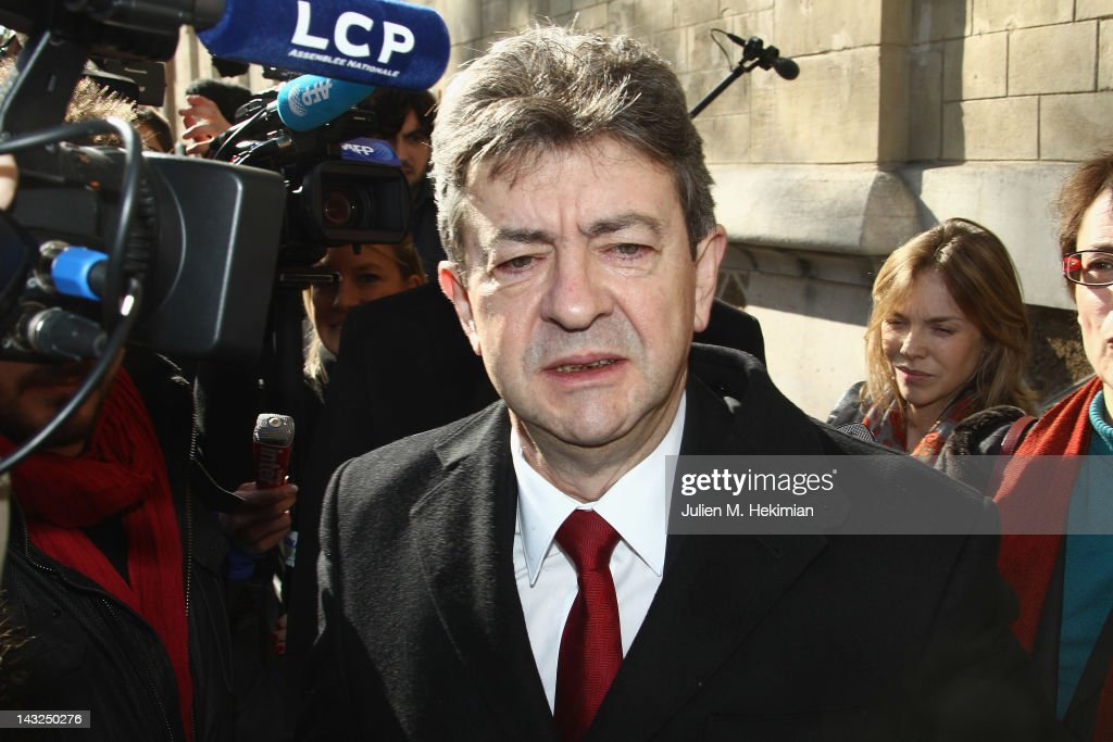 Front de Gauche candidate <a gi-track='captionPersonalityLinkClicked' href=/galleries/search?phrase=Jean-Luc+Melenchon&family=editorial&specificpeople=635097 ng-click='$event.stopPropagation()'>Jean-Luc Melenchon</a> arrives to cast his vote during the first round of the 2012 French Presidential election on April 22, 2012 in Paris, France. French citizens head to the polls as voting began Sunday in France for the first round of the presidential election.