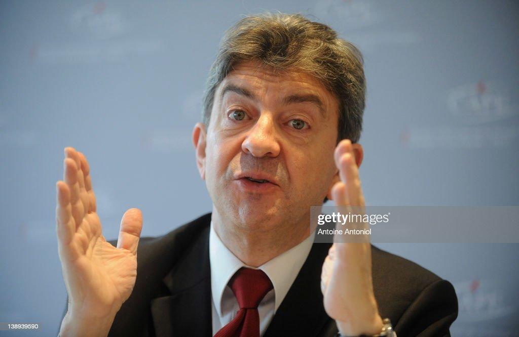 'Front De Gauche' Candidate <a gi-track='captionPersonalityLinkClicked' href=/galleries/search?phrase=Jean-Luc+Melenchon&family=editorial&specificpeople=635097 ng-click='$event.stopPropagation()'>Jean-Luc Melenchon</a> speaks during a press conference at Centre d'Accueil de la Presse Etrangere on February 14, 2012 in Paris, France. France will go to the polls on April 22, 2012 to elect their new president.