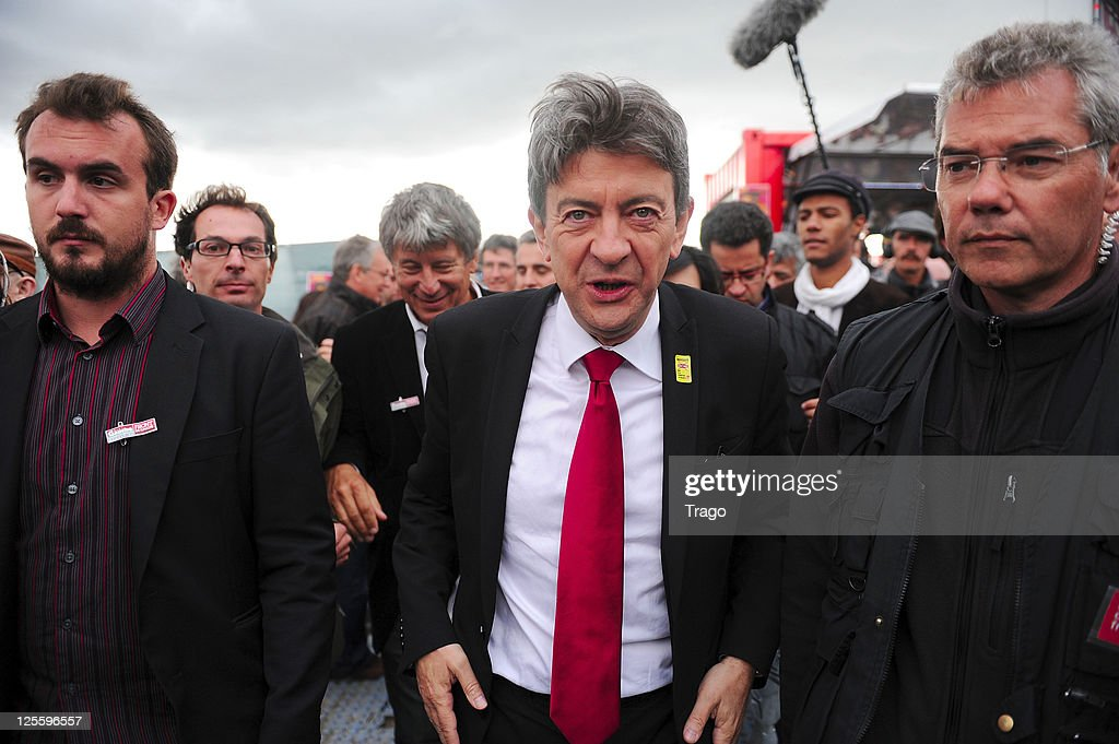 Front de Gauche candidate to the upcoming French presidential elections <a gi-track='captionPersonalityLinkClicked' href=/galleries/search?phrase=Jean-Luc+Melenchon&family=editorial&specificpeople=635097 ng-click='$event.stopPropagation()'>Jean-Luc Melenchon</a> attends day 3 of La Fete de l'Humanite on September 18, 2011 at La Courneuve, France. La Fete de l'Humanite is a politic and musical festival organised every year to fund French Communist newspaper L'Humanite.